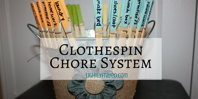 image of a clothespin chore system for children