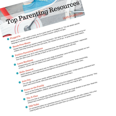 Top Parenting Resources - free printable for Lightly Frayed subscribers