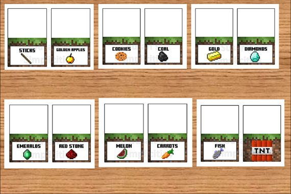 Minecraft birthday party printable food labels.