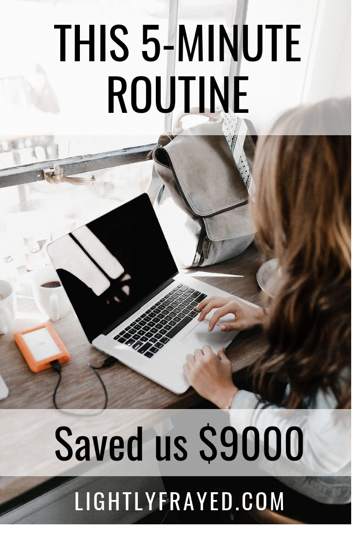 Use this quick strategy to cross-check your finances. This 5-minute habit has saved us thousands of dollars of the years. #lightlyfrayed #managemoney